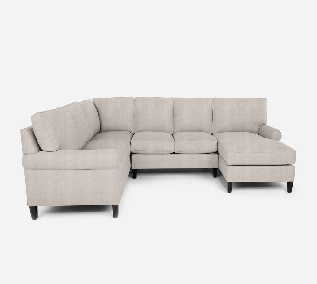 Soren RAF Chaise Corner Sectional - Passion Suede - Oyster