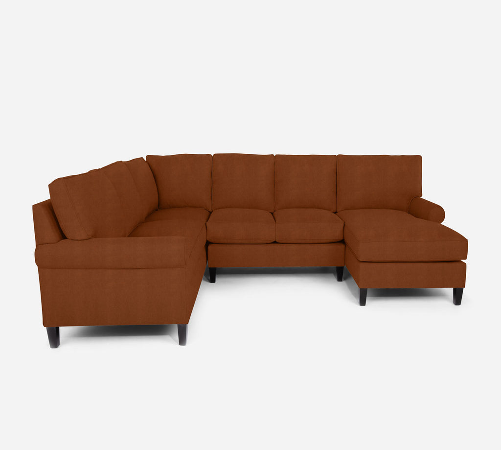 Soren RAF Chaise Corner Sectional - Passion Suede - Rust