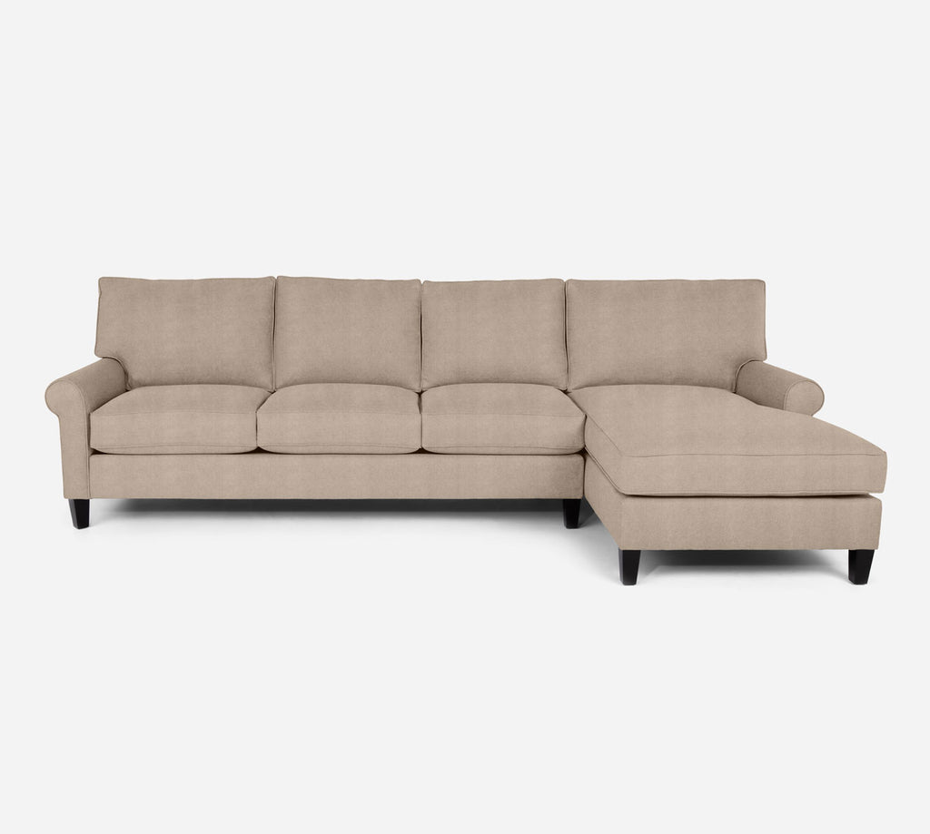 Soren RAF Chaise Sectional - Passion Suede - Camel