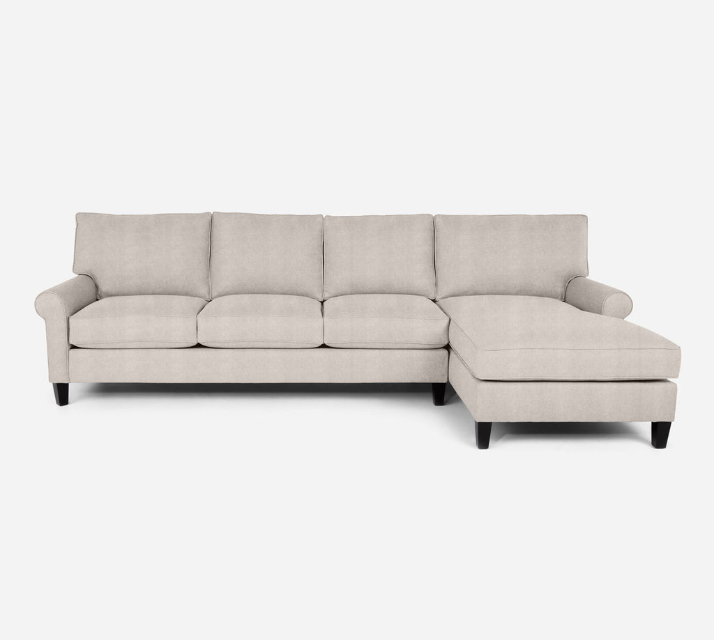 Soren RAF Chaise Sectional - Passion Suede - Oyster