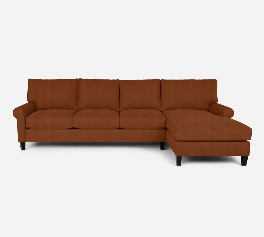 Soren RAF Chaise Sectional - Passion Suede - Rust