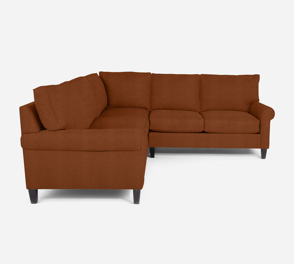 Soren RAF Corner Sectional - Passion Suede - Rust