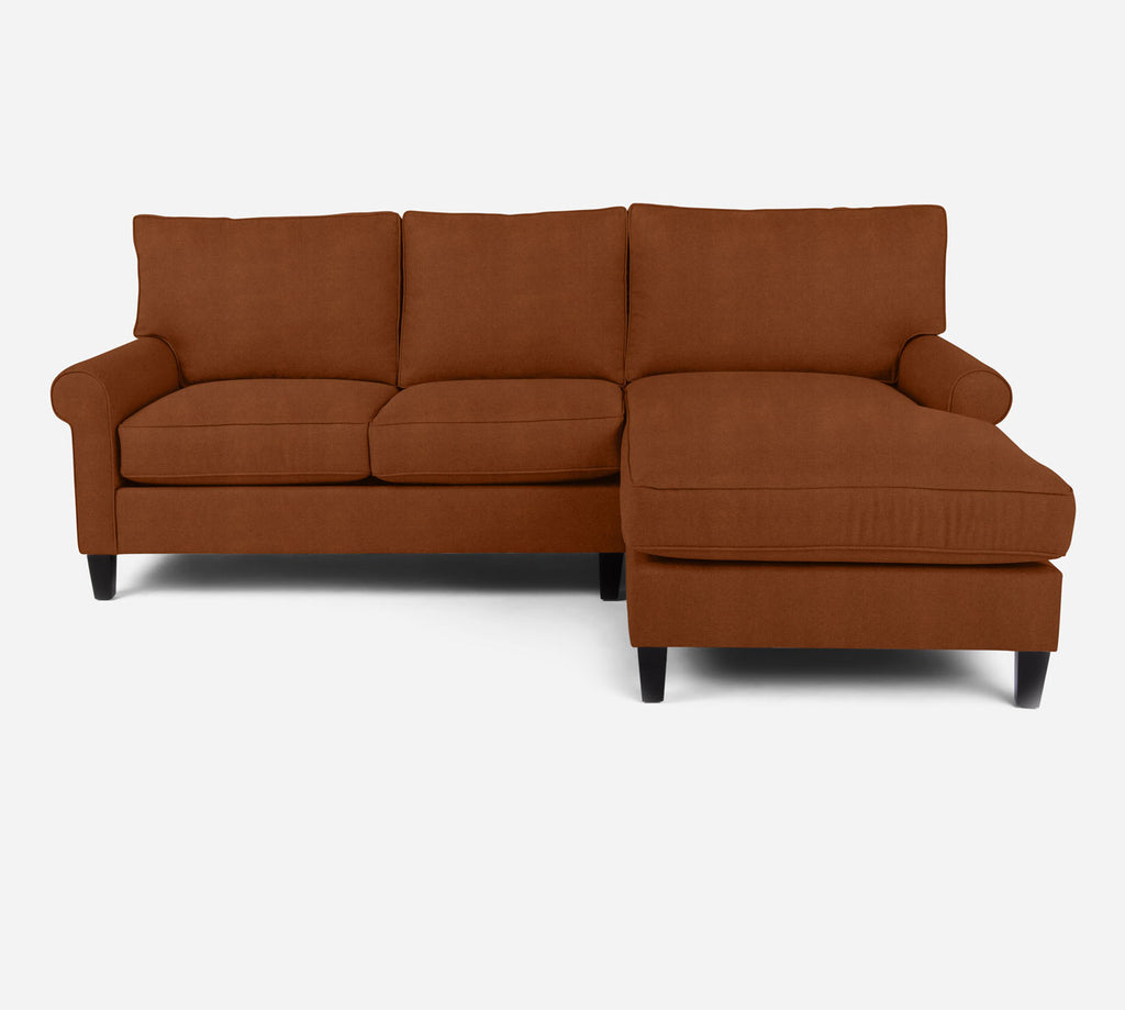Soren Sectional Apartment Sofa w/ RAF Chaise - Passion Suede - Rust