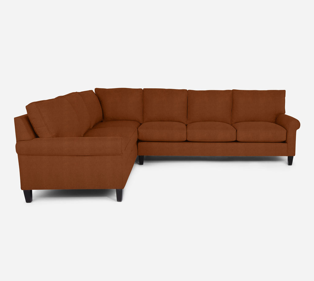 Soren RAF Large Corner Sectional - Passion Suede - Rust