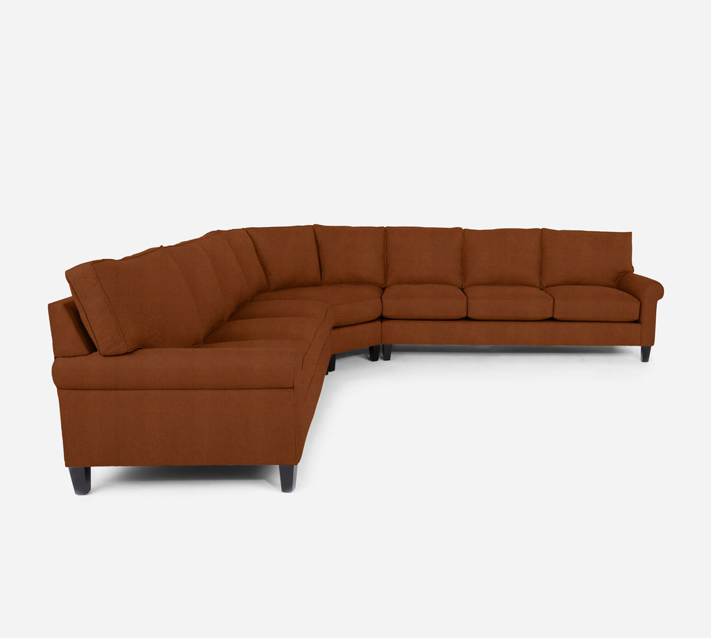 Soren Large Wedge Sectional - Passion Suede - Rust