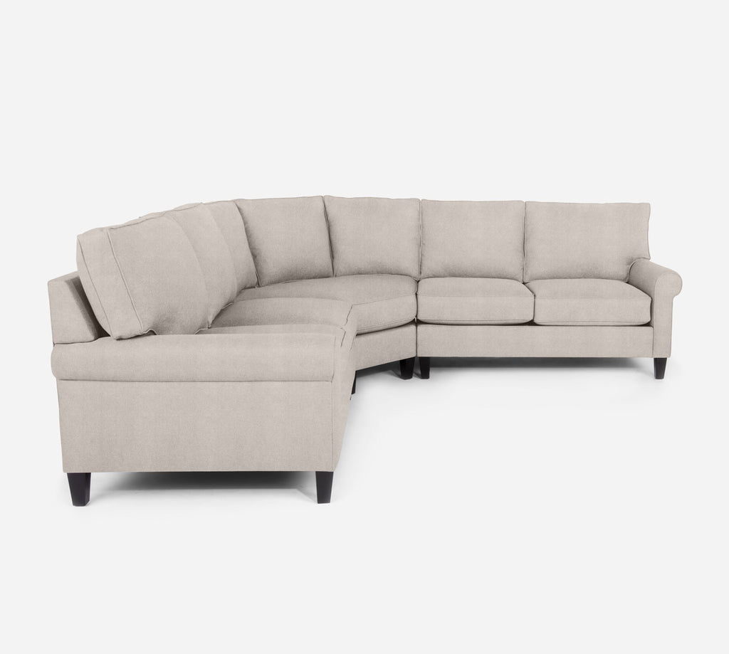 Soren Wedge Sectional - Passion Suede - Oyster