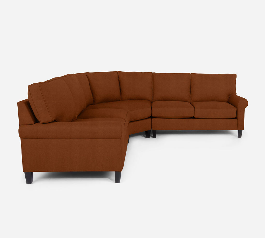 Soren Wedge Sectional - Passion Suede - Rust