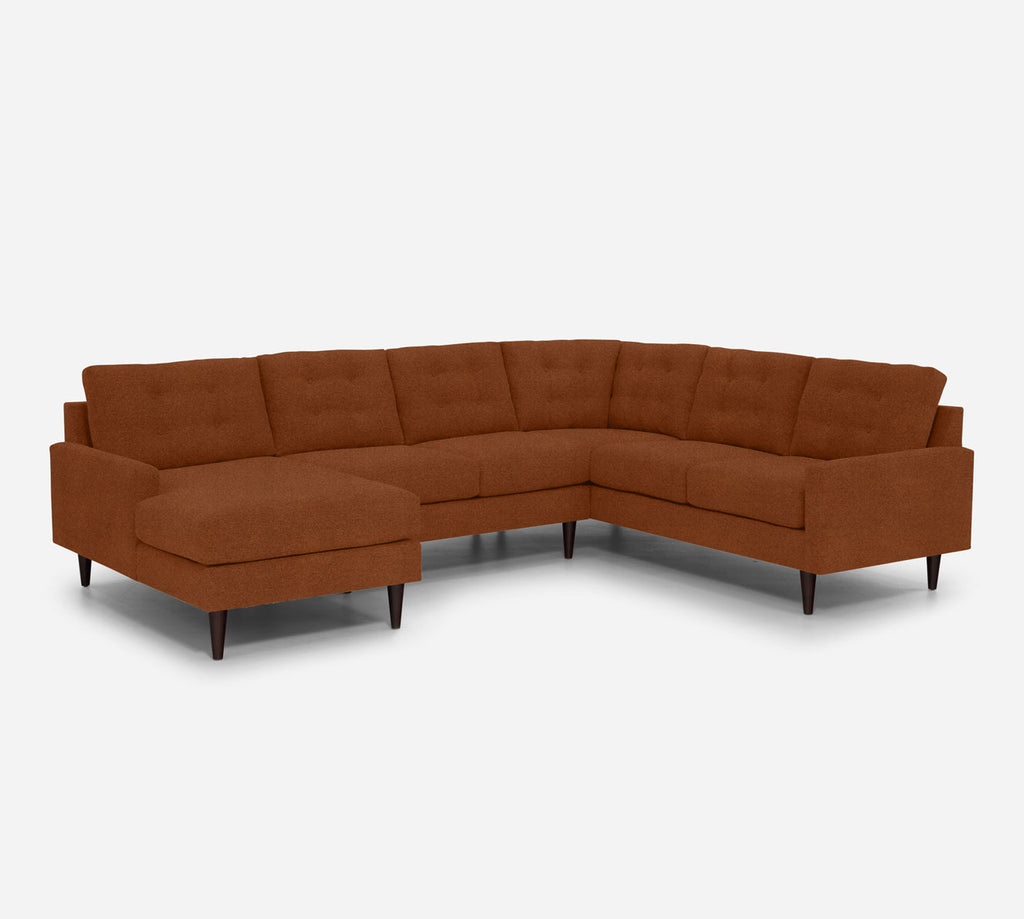 Taylor LAF Chaise Corner Sectional - Passion Suede - Rust