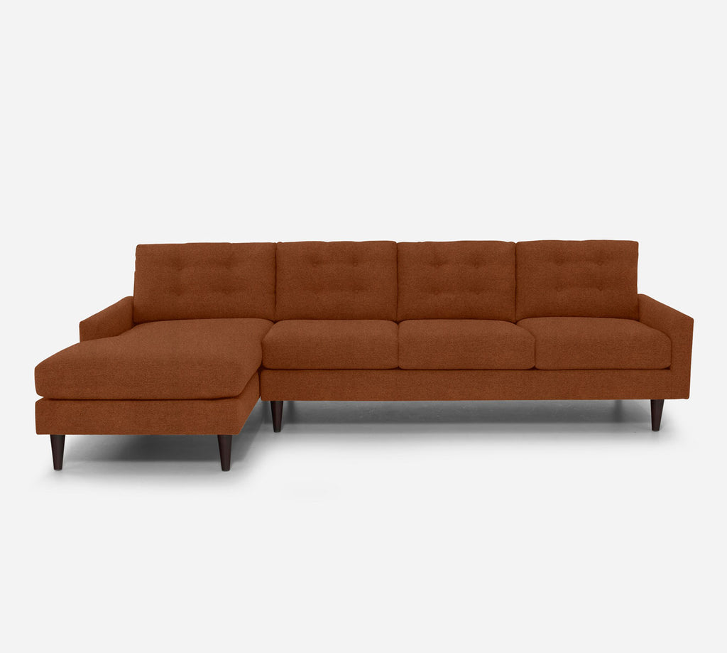 Taylor LAF Chaise Sectional - Passion Suede - Rust