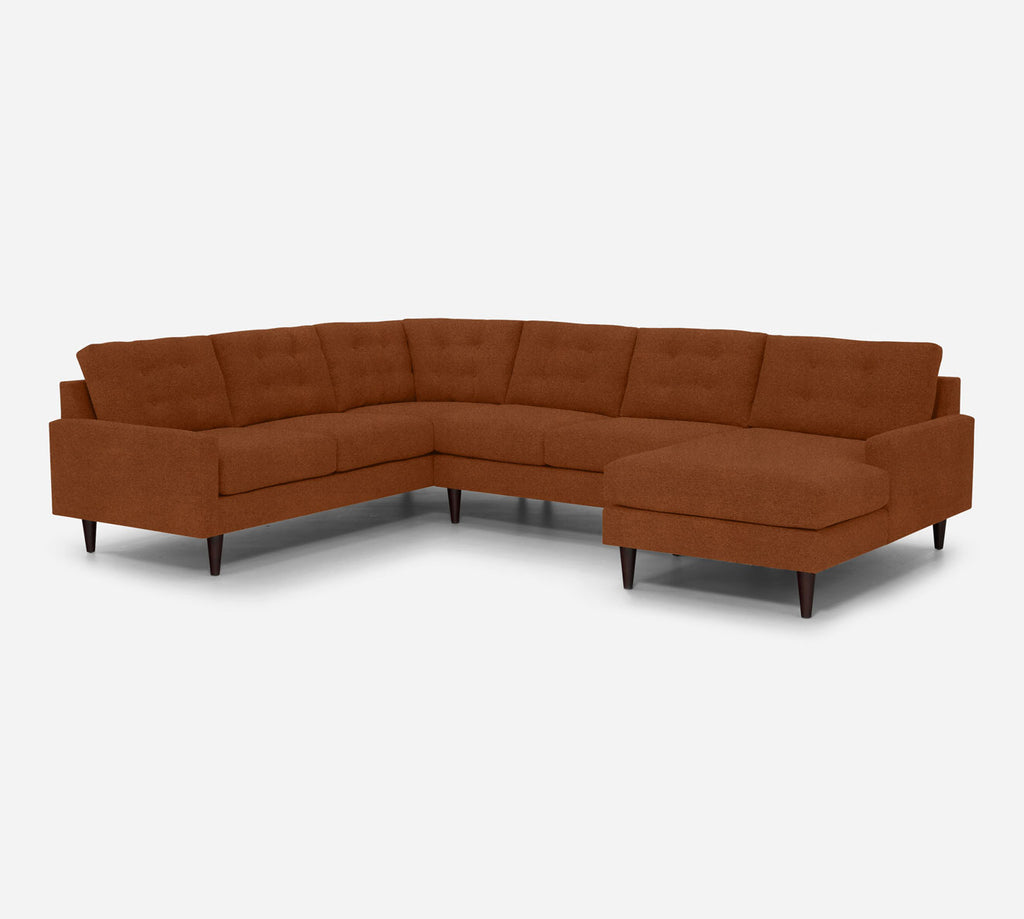 Taylor RAF Chaise Corner Sectional - Passion Suede - Rust