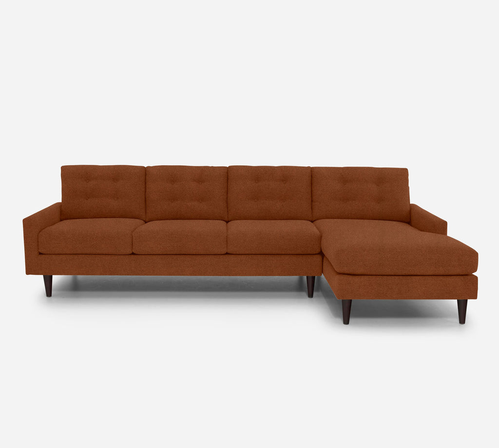 Taylor RAF Chaise Sectional - Passion Suede - Rust