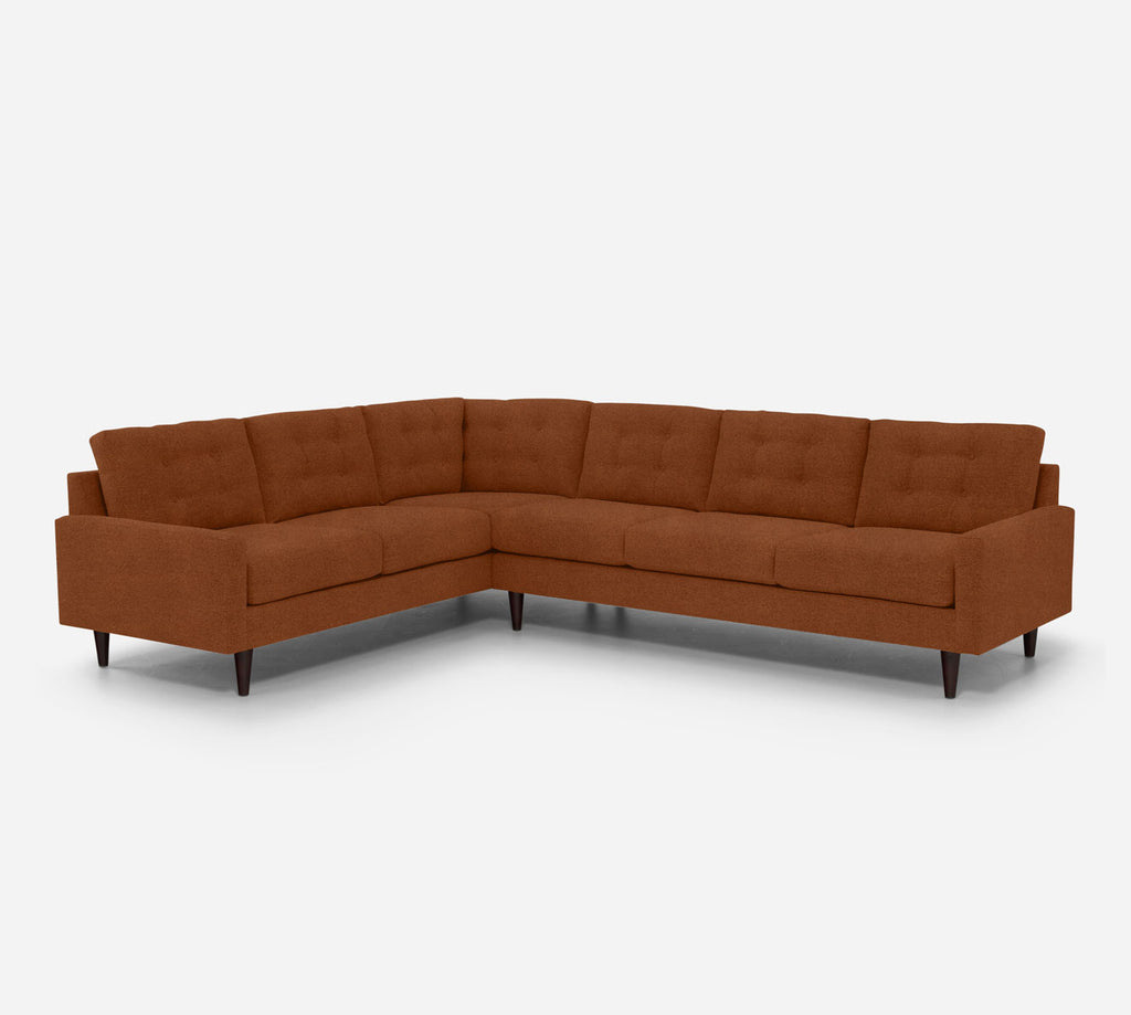Taylor RAF Large Corner Sectional - Passion Suede - Rust