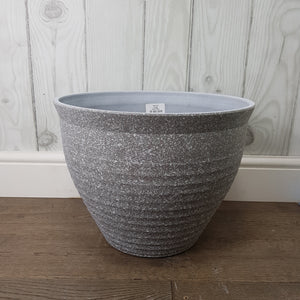Feather Pot Grey Stone Effect