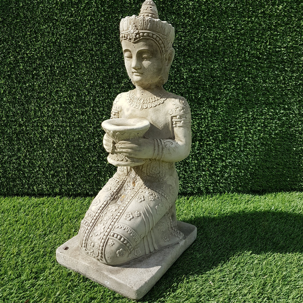 Kneeling Buddha Small Antique Grey