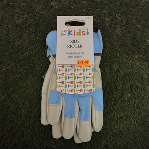 Kids Rigger Leather Gardening Gloves Ages 8-12