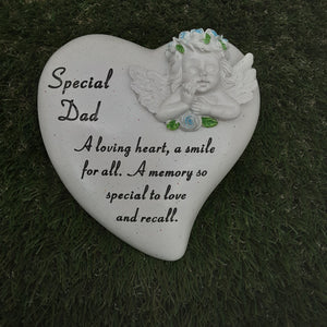 Blue Coloured Cherub Heart Stone
