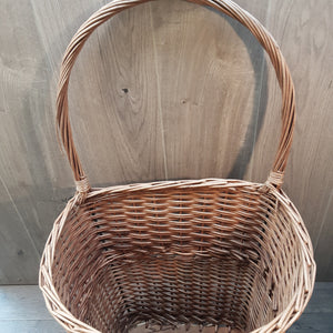 Wicker Log Basket With Wheels