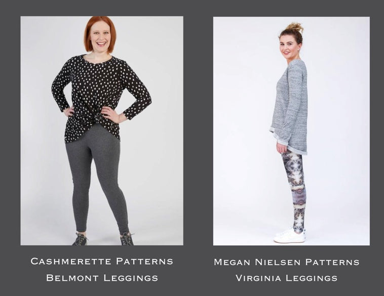 Two ladies wearing leggings. One is standing facing the camera and is wearing a dark t-shirt and grey leggings and the second is standing sideways to the camera and is wearing patterned leggings with a light grey jumper