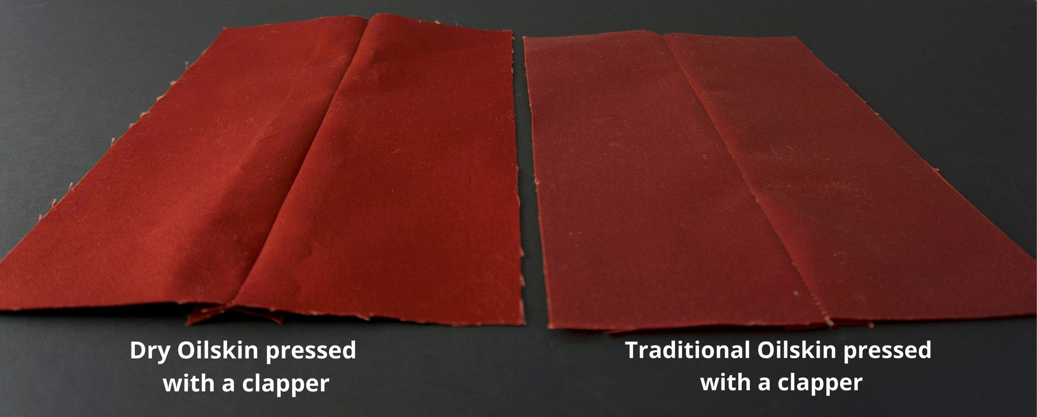 side by side image of dry and traditional oilskin pressed with a clapper
