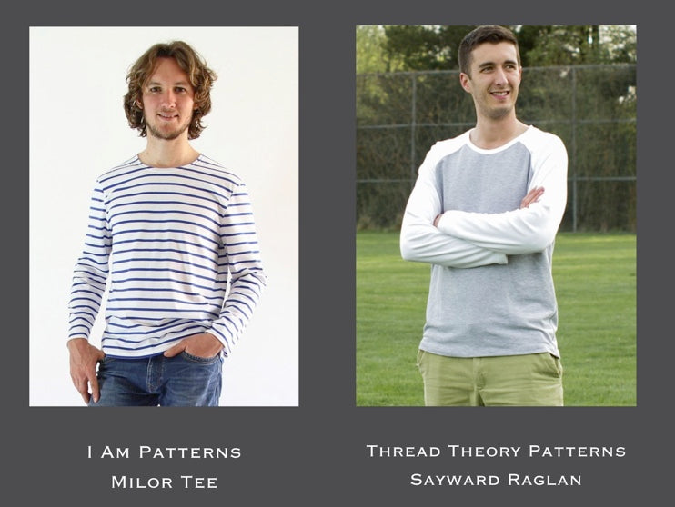 two men in t-shirts. One is wearing a stripy long sleeve knit and the other is a raglan sleeve knit with white sleeves and grey body