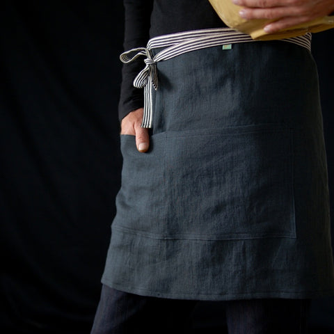 finished apron and on a man holding a bowl