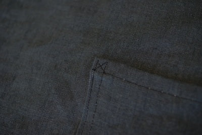 a close up of the pocket with a small stitched cross in the corner to give it strength