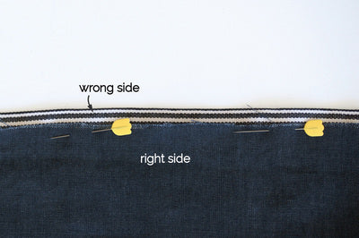 the right side of the denim is showing and the wrong side of the cotton tape with two yellow pins
