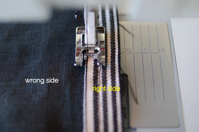 the tape and denim but under the sewing machine and showing it being sewn down