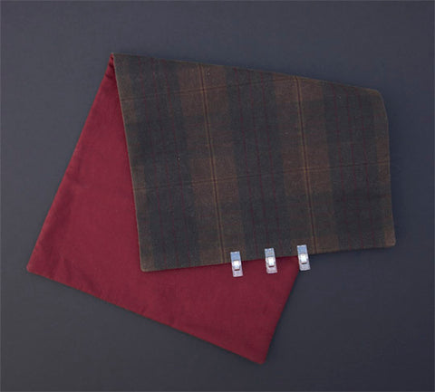 an image of oilskin clipped together using small clear fabric clips instead of pins.