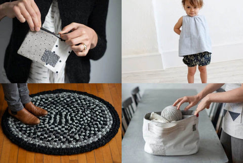 a collection of four images. Top left is a small black and white zip purse being held in the fingers of two hands. The person holding it is wearing a black jumper. The top right is a toddler about two years old wearing a a pale blue linen top and some black flowered bloomers. the bottom left is a project bag made with scraps, it is a wide rimmed and placed on the table. the bottom left is. a black and grey rag rug on a wooden floor. it has a person standing on it and you can just see brown boots and grey trousers.