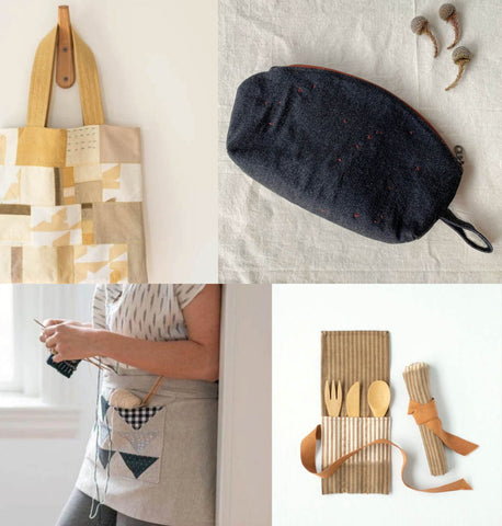 a collection of four images. from the top left it is a picture of a tote bag hanging from a wooden hook. the bag is mute yellows and beiges and is made up of patchwork. the top right picture is a dark denim blue zipper pouch with small red dots on it. it has a flat bottom and a soft curved top. the bottom right is a cutlery pouch made from stripe linen in a beige and white colour. it shows the pouch both open and wrapped up and is fastened by a large ochre tie. the bottom left image is a grey linen apron. it is a half apron just covering the bottom half. It has patchwork triangles in a dark blue colour and the lady wearing it is leaning against a wall with knitting needles and dark blue yarn.