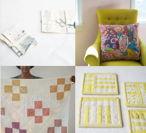 a collection of four images. clockwise from top left. a very pale image of two needle cases made of pale creams and greys. the next image is a brightly coloured appliqué cushion sitting on a chartreuse wingback chair and the last image is a black woman holding up a simple cream quilt with delicate yellow and pins and lilacs