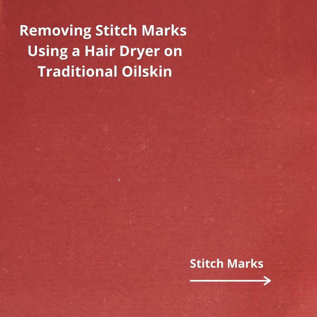 an image showing stitch marks on traditional oilskin
