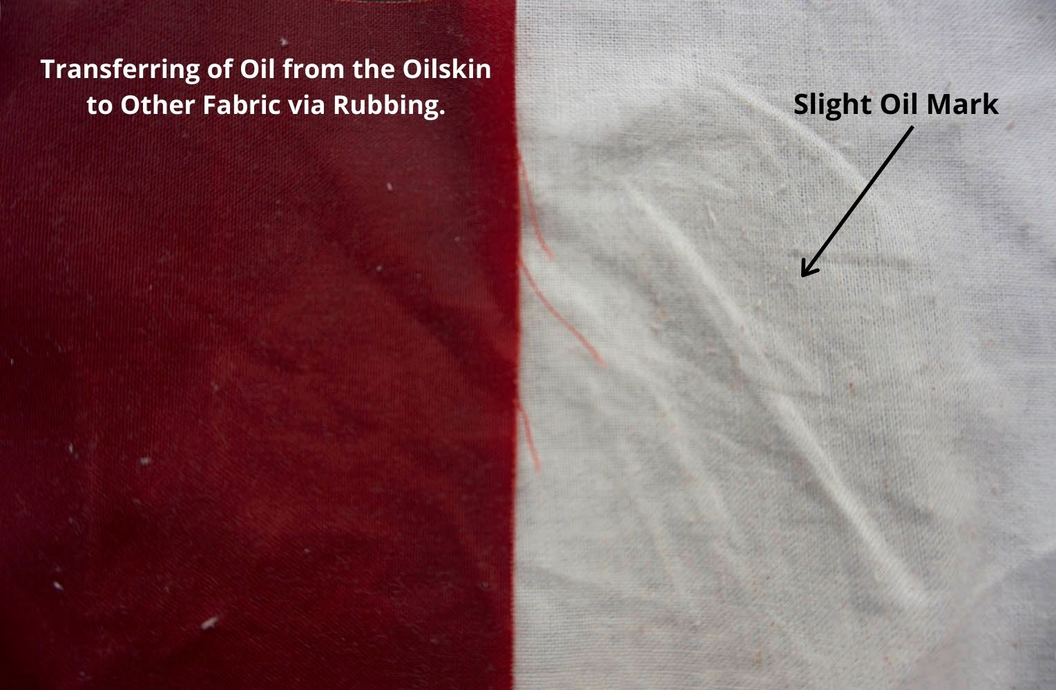 side by side photo of the oilskin. The oilskin is on the left hand side and the muslin is on the right hand side. it shows a slight discolouration of the muslin