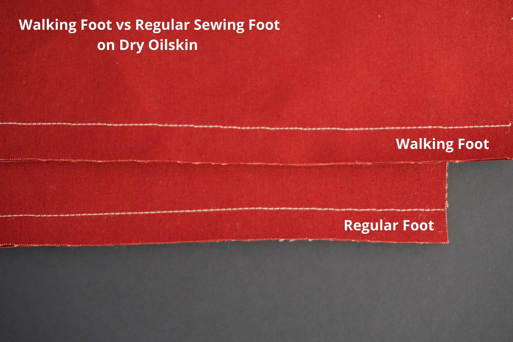 a picture of two pieces of dry oilskin showing white stitching on them. the top one is a walking foot and the bottom one is a regular foot. the stitches on both are even and neat
