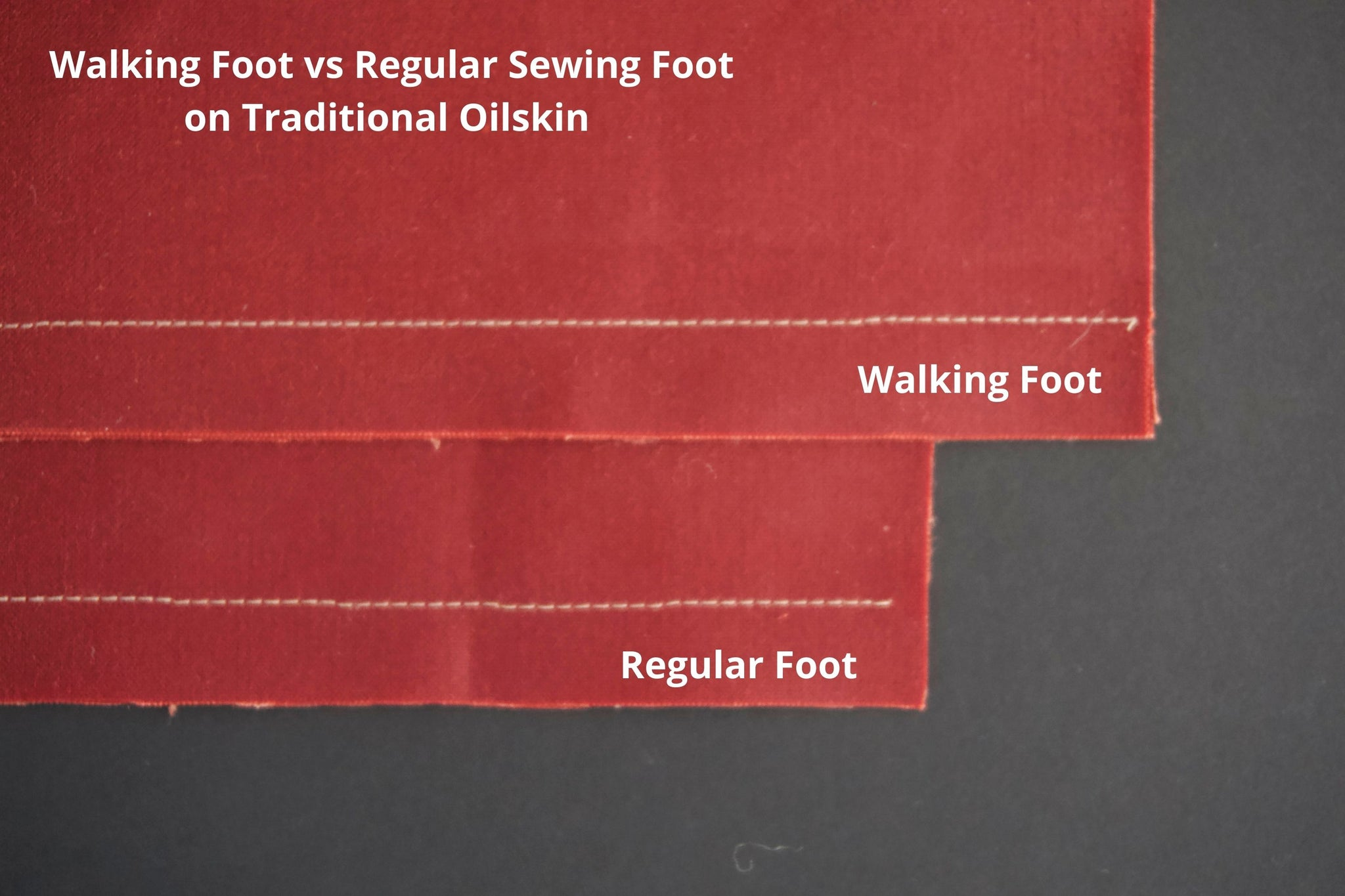 a picture of two pieces of traditional oilskin showing white stitching on them. the top one is a walking foot and the bottom one is a regular foot. the stitches on both are even and neat