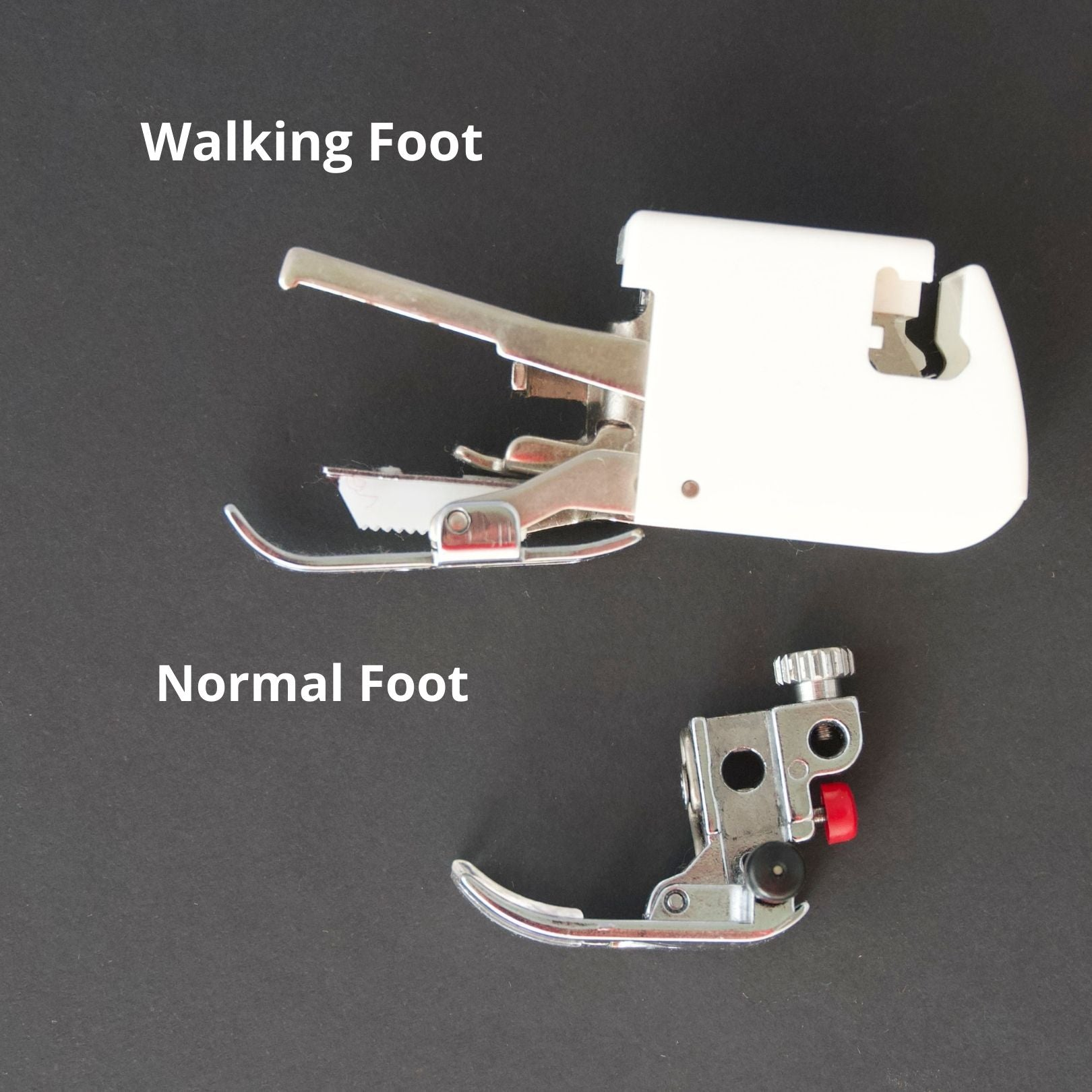 a side by side image of a regular walking foot next to a walking foot. the walking foot has a lever at the front and a rectangle box that you attach to the sewing machine shaft