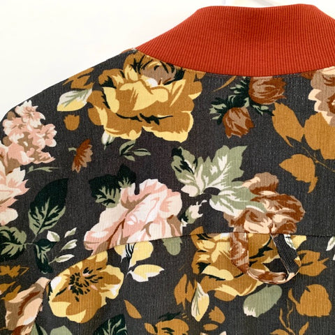 floral needlecord and brick coloured ribbing