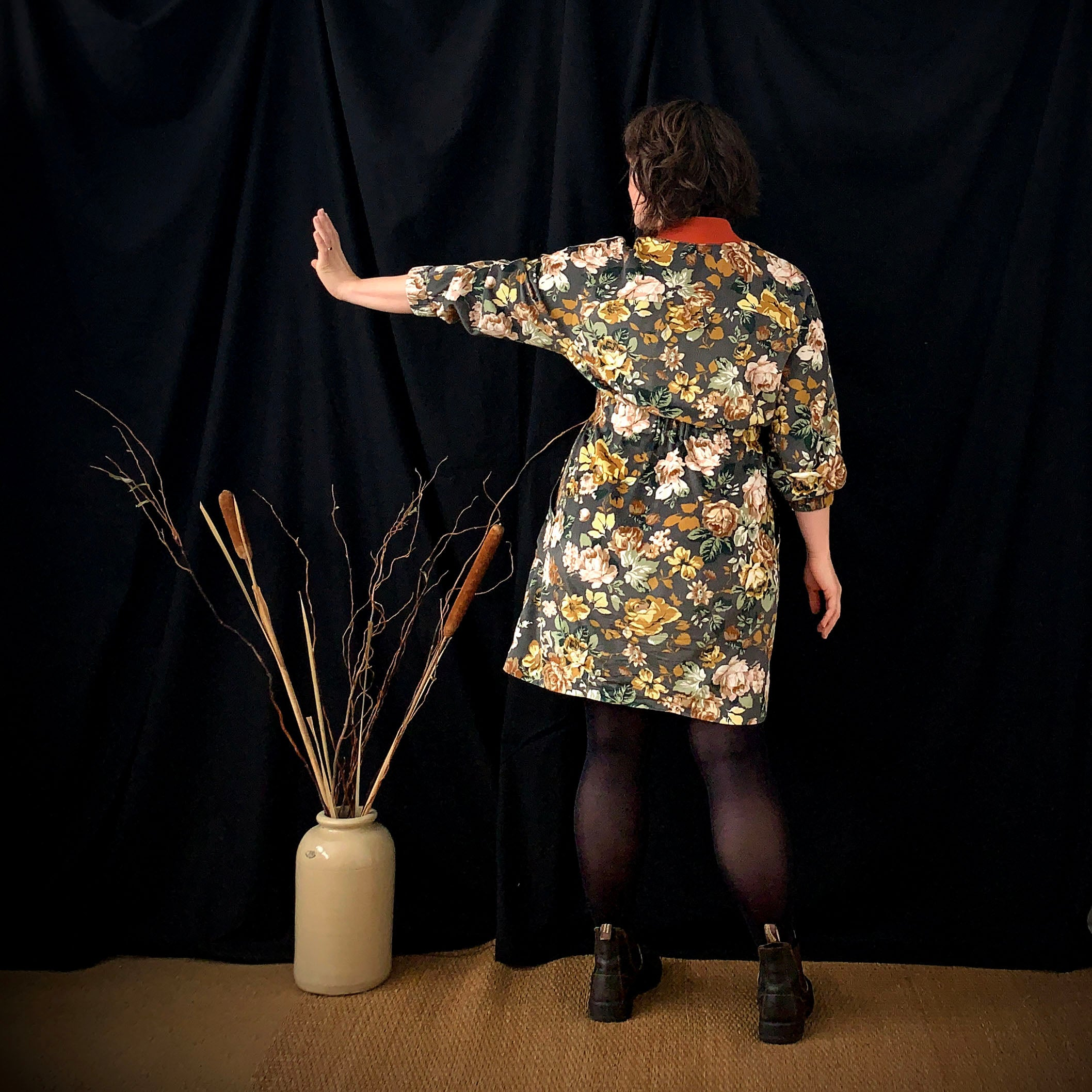 beryl bomber dress pattern review back view