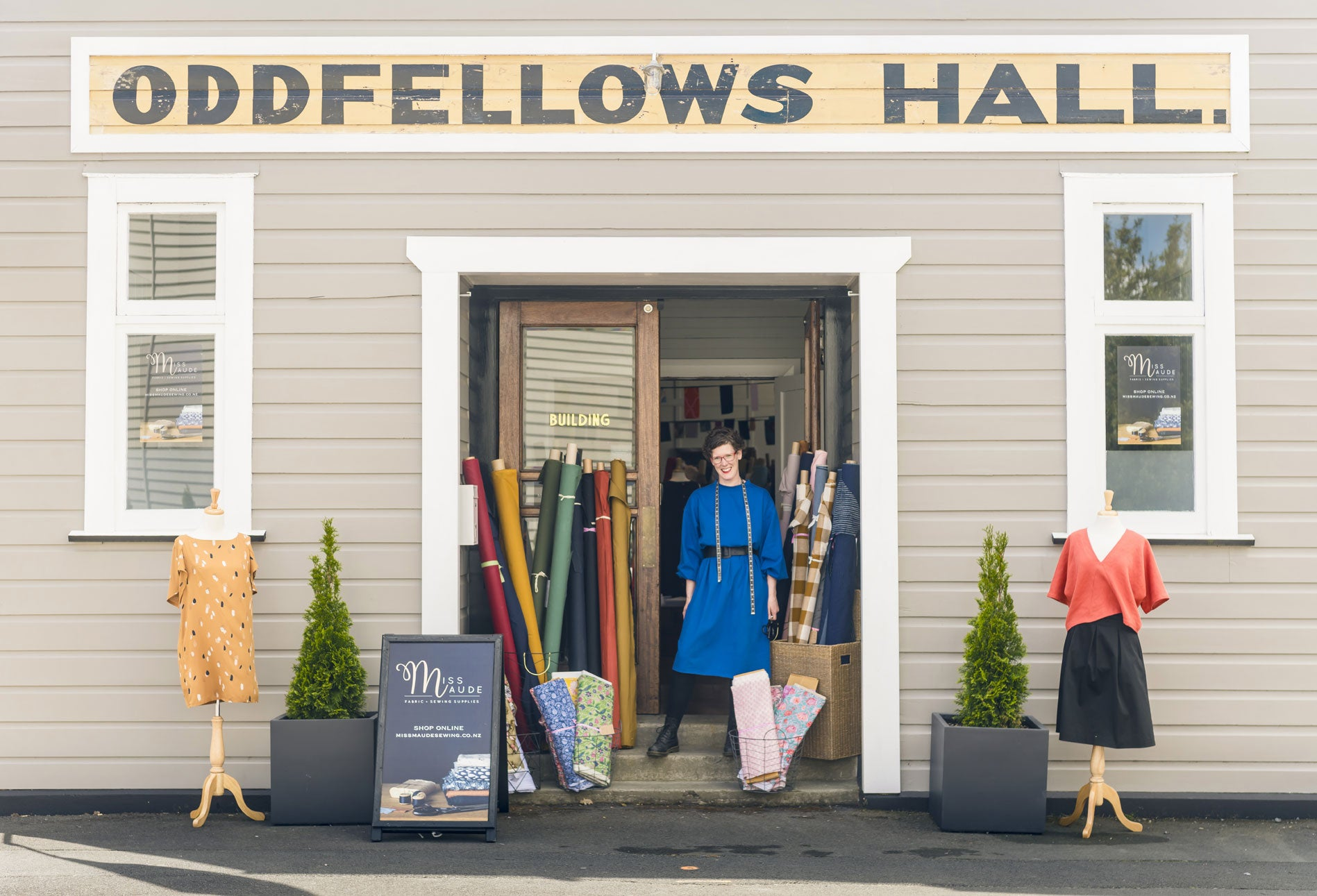 Miss Maude Fabric store Oddfellows Hall Greytown