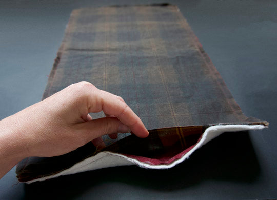 the opening of the tablet cover before it has been turned out. It shows the gap that you turn the fabric through.