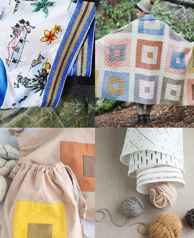 a collection of four images. top left is a close up of a pair of underwear with a sparkly waistband and tropical themed fabric. top right is a soft coloured quilt with squares all over it. Bottom right is three cloth pots nestled in to each other and bottom left is a drawstring bag made of scraps.