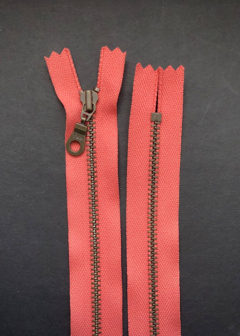 YKK Antique Brass Zip with Donut Pull, Coral