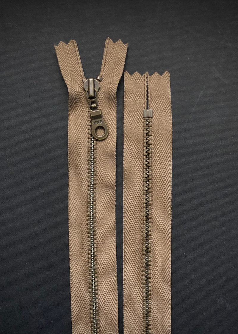 YKK Antique Brass Zip with Donut Pull, Taupe