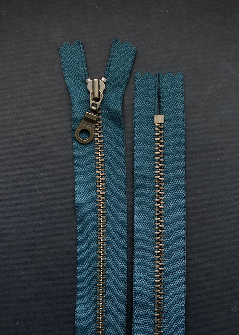 YKK Antique Brass Zip with Donut Pull, Dark Teal