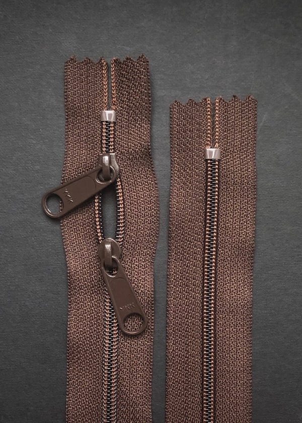YKK Nylon Zip with Double Long Pull, Chocolate Brown