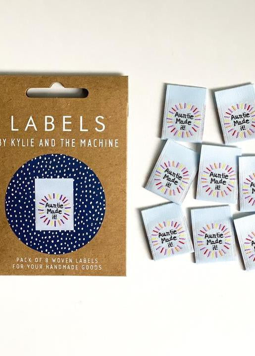 'Auntie Made It!' sew in labels.  Kylie and The Machine