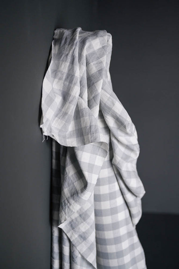 LAST PIECE! Garden Party Grey Gingham Laundered Linen/Cotton