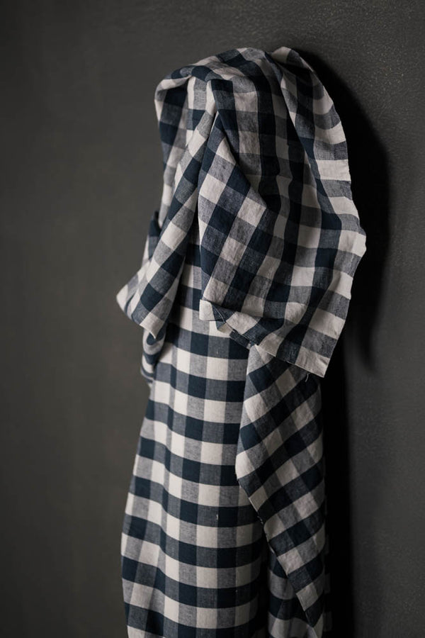 LAST PIECE! Garden Party Petrol Gingham Laundered Linen/Cotton