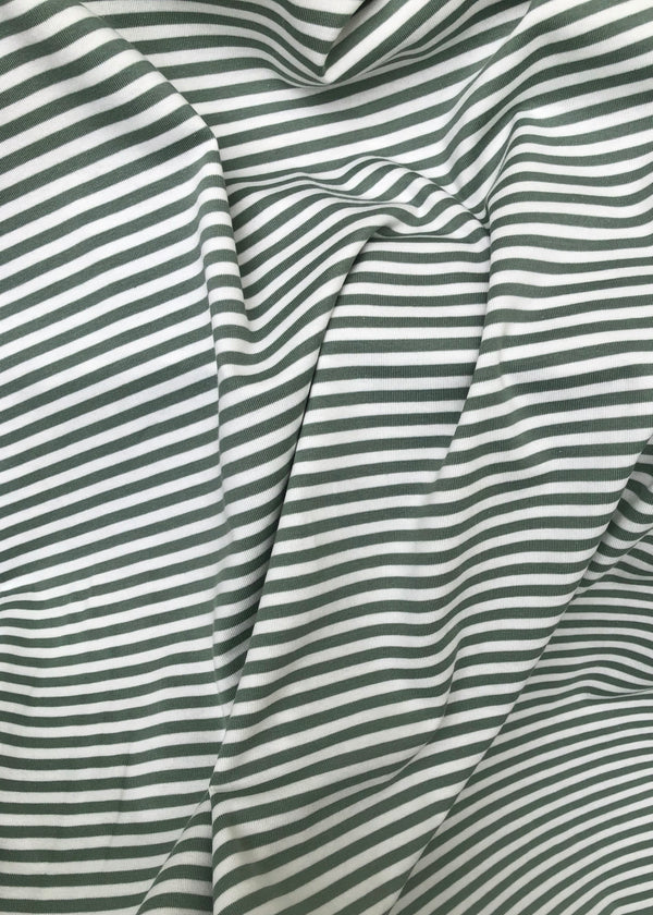 Torpedo Little Stripe Jersey Knit - Sage Green and White